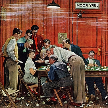 Marmont HIll 'Jury' by Norman Rockwell Painting Print on Wrapped Canvas; 48'' H x 48'' W
