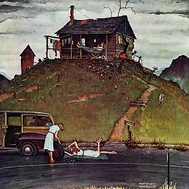 Marmont HIll 'Changing A Flat' by Norman Rockwell Painting Print on Wrapped Canvas; 18'' H x 18'' W