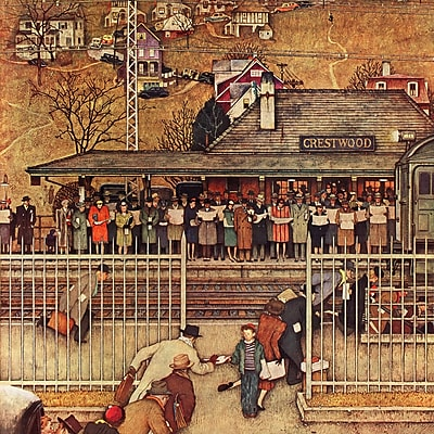Marmont HIll 'Commuters' by Norman Rockwell Painting Print on Wrapped Canvas; 48'' H x 48'' W
