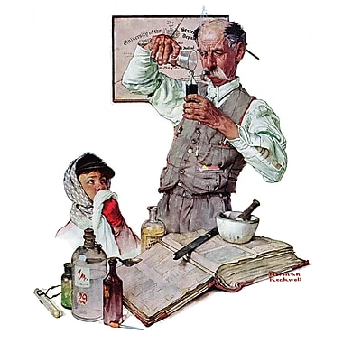 Marmont HIll 'Pharmacist' by Norman Rockwell Painting Print on Wrapped Canvas; 36'' H x 30'' W