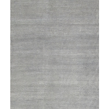 Pasargad Hand-Knotted Wool and Rayon from Bamboo Silk Light Grey Area Rug; Rectangle 9' x 12'