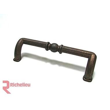 Richelieu 3 7/9'' Center Bar Pull; Spotted Bronze
