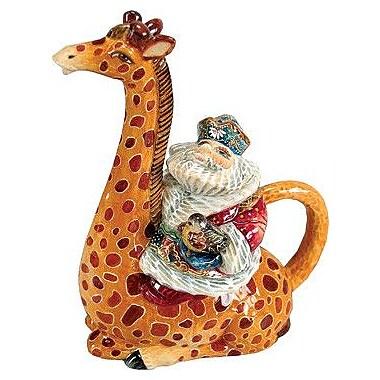 G Debrekht Santa on Giraffe Ceramic Teapot