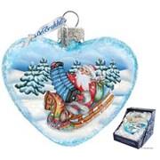 G Debrekht Holiday Love Heart Accordion Santa Glass Ornament