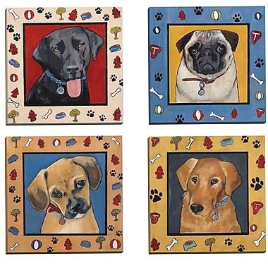 Portfolio Canvas Dog Dreams I by Tara Gamel 4 Piece Painting Print on Wrapped Canvas Set