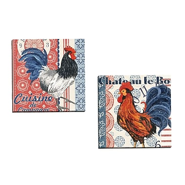 Portfolio Canvas Bon Rooster 3 by Jennifer Brinley 2 Piece Painting Print on Wrapped Canvas Set