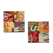 Portfolio Canvas Alphabits I by K. Tomlin 2 Piece Painting Print on Wrapped Canvas Set