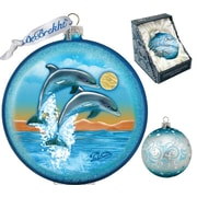 G Debrekht Holiday Dolphins Fly Glass Ornament