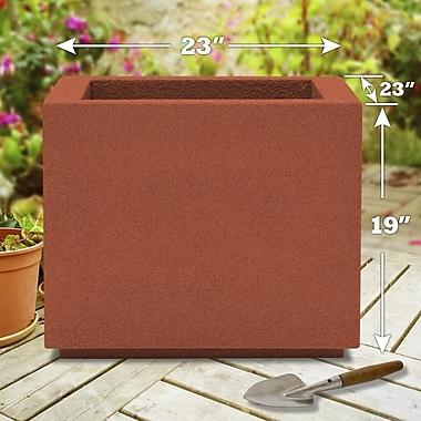 Poly-Stone Planters Milan 100pct solid Polyurea Planter Box; Red Clay