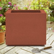 Poly-Stone Planters Milan 100pct solid Polyurea Planter Box; Red Clay