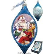 G Debrekht Holiday Santa Gift Giver Glass Ornament Drop