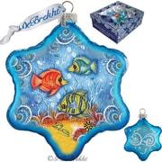 G Debrekht Holiday Starfish Snowflake Glass Ornament