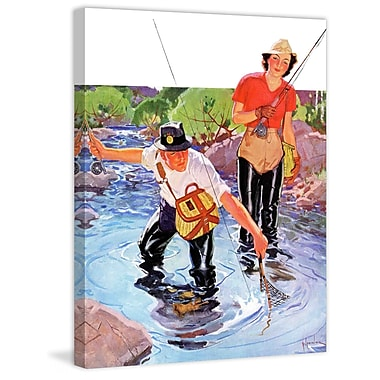 Marmont HIll Netting a Fish by R.J. Cavaliere Painting Print on Wrapped Canvas