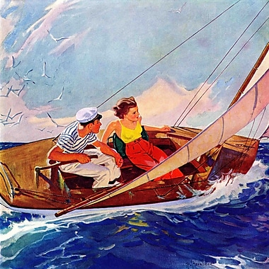Marmont HIll Couple Sailing by R.J. Cavaliere Painting Print on Wrapped Canvas