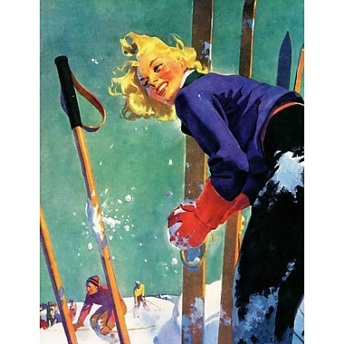 Marmont HIll Snow Fight by Dominice Cammerota Painting Print on Wrapped Canvas