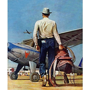 Marmont HIll Flying Cowboy by Mead Schaeffer Painting Print on Wrapped Canvas