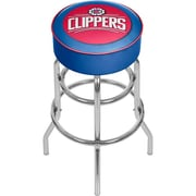 Trademark Global® Vinyl Padded Swivel Bar Stool, Blue, Los Angeles Clippers NBA