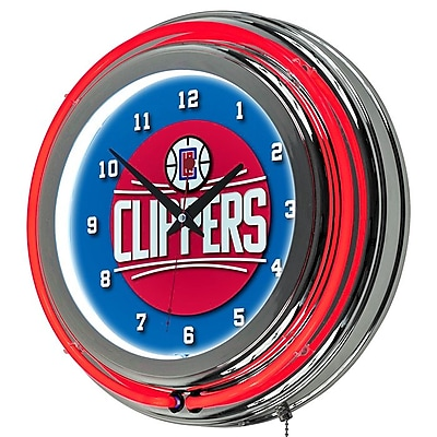Trademark Global® Chrome Double Ring Analog Neon Wall Clock, Los Angeles Clippers NBA
