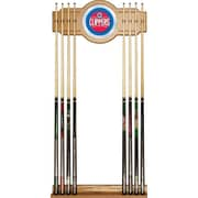 Trademark Global® Wood and Glass Billiard Cue Rack With Mirror, Los Angeles Clippers NBA