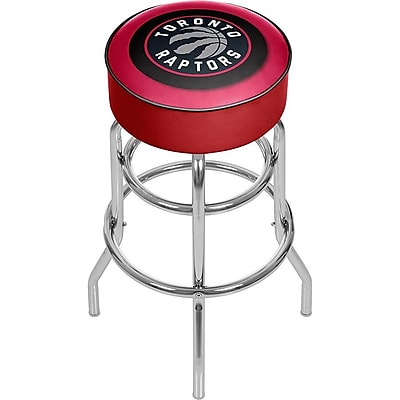 Trademark Global® Vinyl Padded Swivel Bar Stool, Red, Toronto Raptors NBA