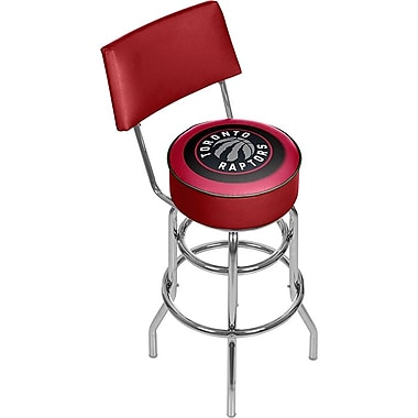 Trademark Global® Vinyl Padded Swivel Bar Stool With Back, Red, Toronto Raptors NBA