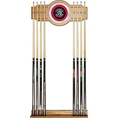 Trademark Global® Wood and Glass Billiard Cue Rack With Mirror, Toronto Raptors NBA
