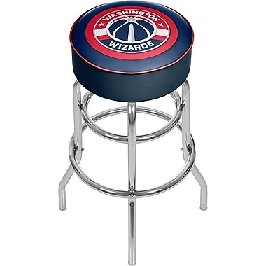 Trademark Global® Vinyl Padded Swivel Bar Stool, Blue, Washington Wizards NBA