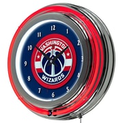 Trademark Global® Chrome Double Ring Analog Neon Wall Clock, Washington Wizards NBA