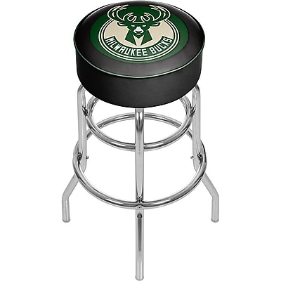 Trademark Global® Vinyl Padded Swivel Bar Stool, Green, Milwaukee Bucks NBA