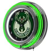 Trademark Global® Chrome Double Ring Analog Neon Wall Clock, Milwaukee Bucks NBA