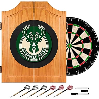 Trademark Global® Solid Pine Dart Cabinet Set, Milwaukee Bucks NBA