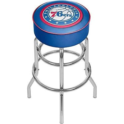 Trademark Global® Vinyl Padded Swivel Bar Stool, Blue, Philadelphia 76ers NBA
