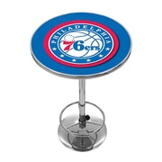 "Trademark Global® 27.37"" Solid Wood/Chrome Pub Table, Blue, Philadelphia 76ers NBA"