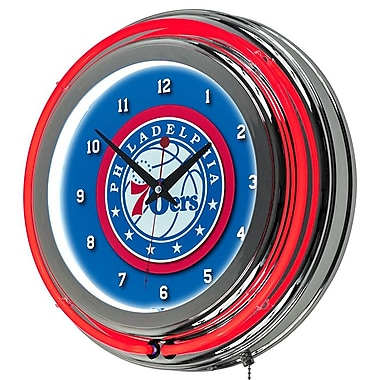 Trademark Global® Chrome Double Ring Analog Neon Wall Clock, Philadelphia 76ers NBA