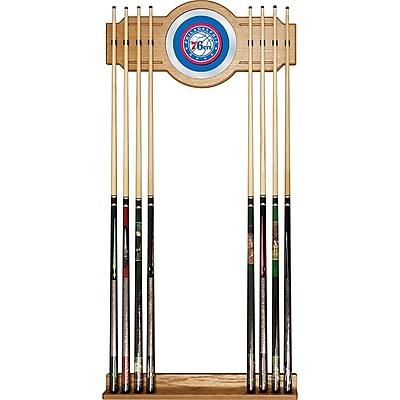 Trademark Global® Wood and Glass Billiard Cue Rack With Mirror, Philadelphia 76ers NBA