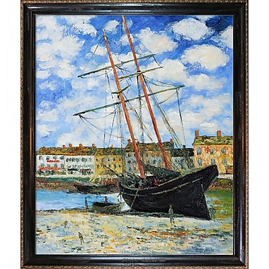 Wildon Home Boat at Low Tide, Fecamp 1881 by Claude Monet Framed Painting