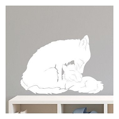 Dana Decals Mom and Baby Fox Small Wall Decal; White
