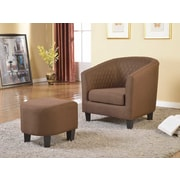 Container Isabella Barrel Chair and Ottoman; Brown