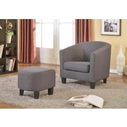 Container Isabella Barrel Chair and Ottoman; Gray