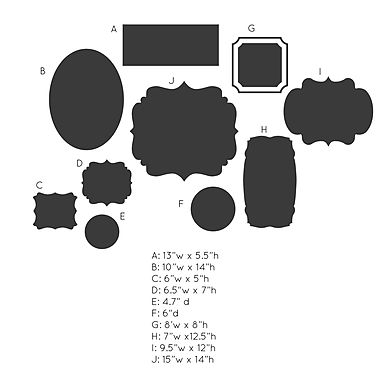 Dana Decals Cluster of Frames In Various Shapes Chalkboard Wall Decal