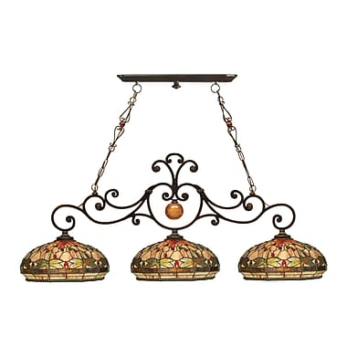 Dale Tiffany Dragonfly Three Light Kitchen Island Pendant in Antique Golden Sand