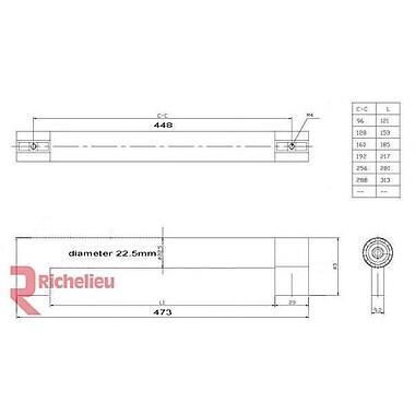 Richelieu 17 3/5'' Center Bar Pull