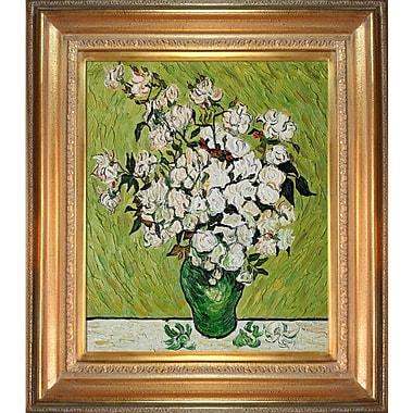 Tori Home Vase w/ Roses by Vincent Van Gogh Framed Painting Print