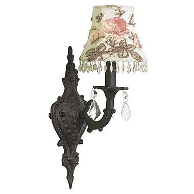 Jubilee Collection Rose Print Shade in Mocha 1-Light Armed Sconce