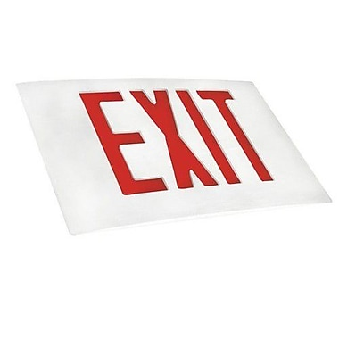 Morris Products Cast Aluminum Extra Face Plate LED Exit Sign w/ Red Lettering and White Face