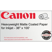 "Canon 230gsm Heavyweight Coated Paper, Matte, 36""(W) x 100'(L), 1/Roll"