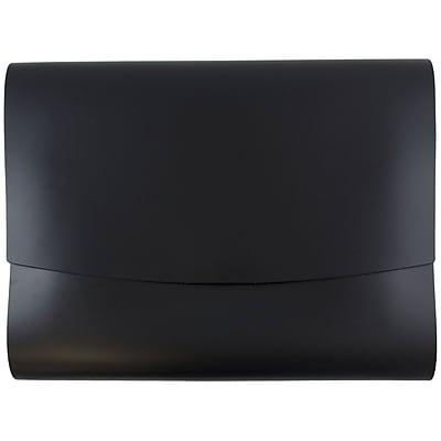 JAM Paper® Italian Leather Portfolio With Snap Closure, 10.5 x 13 x 0.75, Black, 12/carton (2233317452B)
