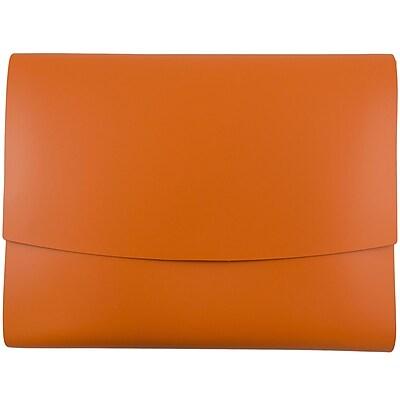 JAM Paper® Italian Leather Portfolio With Snap Closure, 10.5 x 13 x 0.75, Orange, Sold Individually (2233320841)