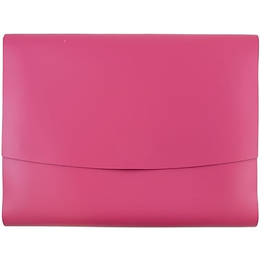 JAM Paper® Italian Leather Portfolio With Snap Closure, 10.5 x 13 x 0.75, Fuchsia Pink, Sold Individually (2233320839)