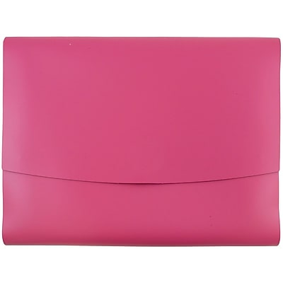 JAM Paper® Italian Leather Portfolio With Snap Closure, 10.5 x 13 x 0.75, Fuchsia Pink, Sold Individually (2233320839)
